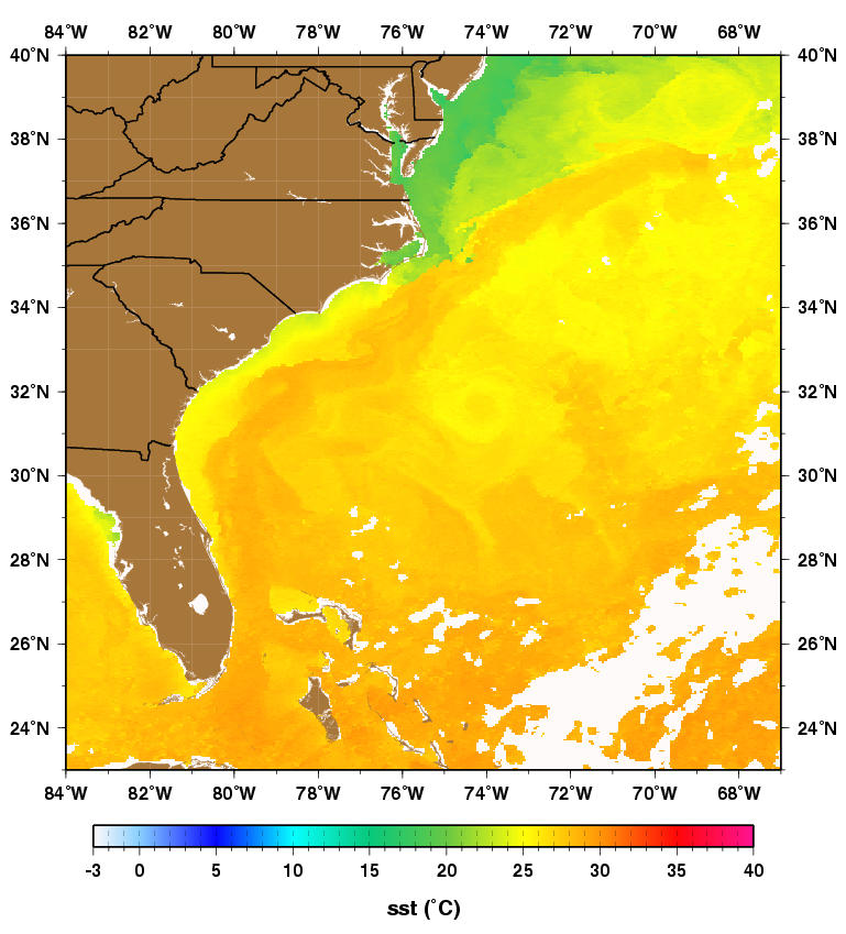 a satellite derived sea surface temperature map ilrating the relatively warm florida current that hugs the southeast u s and flows offs