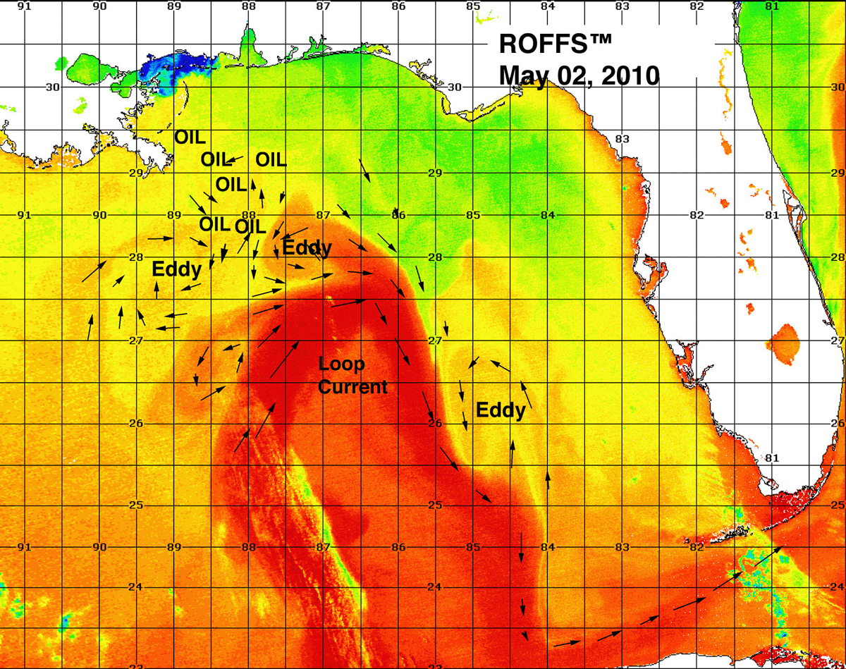 The Loop Current - Mexico temperature map