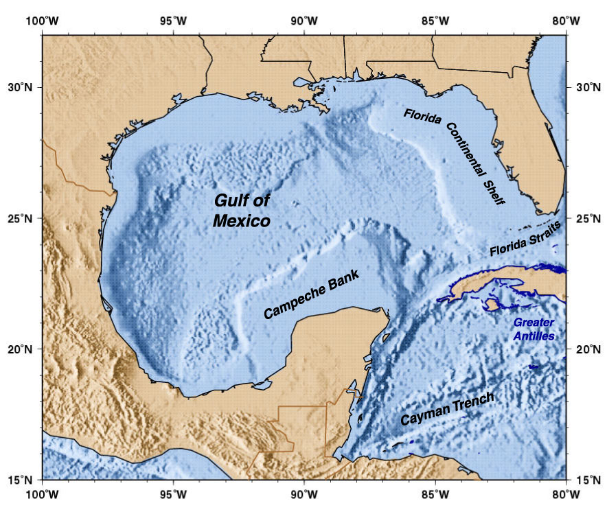 Caribbean Topographic Map.Surface Currents In The Caribbean Sea And Gulf Of Mexico