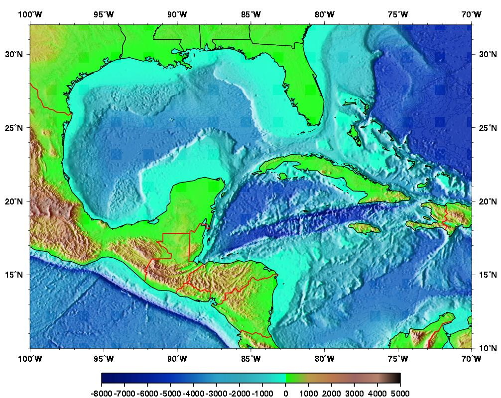 Gulf Of Mexico Topographic Map | woestenhoeve
